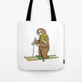 Sloth with scarf as skier with skis Tote Bag
