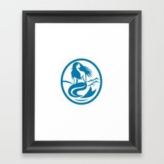 Mermaid Siren Sitting Singing Oval Retro Framed Art Print