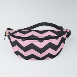 Black and Cotton Candy Pink Horizontal Zigzags Fanny Pack