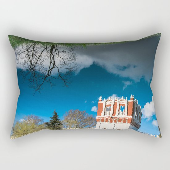 the reflection of the walls of the monastery Rectangular Pillow