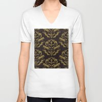 damask V-neck T-shirts featuring Fox Damask by Azure Cricket