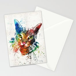 Colorful Cat Art by Sharon Cummings Stationery Cards