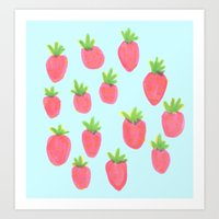 just a bunch of strawberries  Art Print