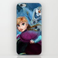 olaf iPhone & iPod Skins featuring Anna & Olaf  by Niniel
