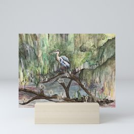 Mr. Blue Heron The Swamp Gatekeeper Mini Art Print