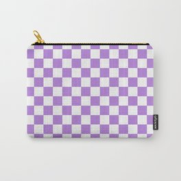 White and Lavender Violet Checkerboard Carry-All Pouch