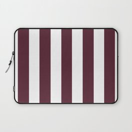 Light chocolate cosmos purple - solid color - white vertical lines pattern Laptop Sleeve