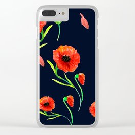 Red Poppies Field Clear iPhone Case