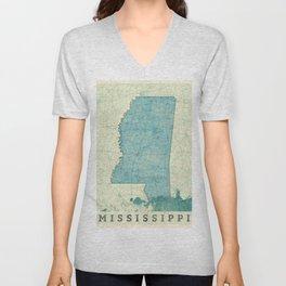 Mississippi State Map Blue Vintage Unisex V-Neck
