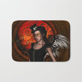 Wonderful steampunk lady with wings and hat Bath Mat