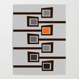 Mid Century Modern Print (A Pop Of Orange) on Gray Poster