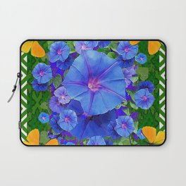 Forest Green Pattern Blue Morning Glory  Butterfly Art Laptop Sleeve