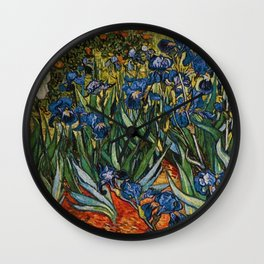 Irises in the Garden, Saint-Remy, c.1889 by Vincent Van Gogh Wall Clock