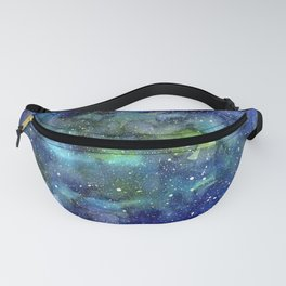 Space Galaxy Blue Green Watercolor Nebula Painting Fanny Pack