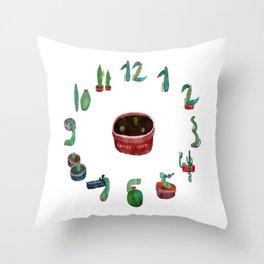 Cactos Clock Throw Pillow