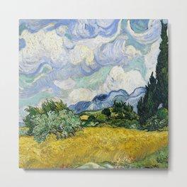 Vincent Van Gogh Wheat Field with Cypresses (1889) Metal Print