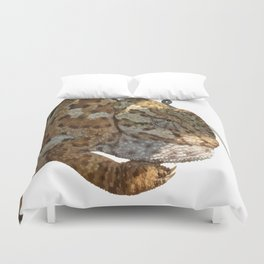 Chameleon Hanging On A Wire Fence Vector Duvet Cover