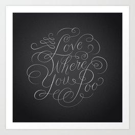 Love Where You Poo - Gray Art Print