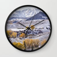 gore Wall Clocks featuring Gore Range by Two Happy Campers