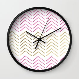 Pink faux gold watercolor tribal chevron pattern Wall Clock