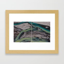 Long bridge across Icelandic rivers Framed Art Print