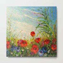 Field in poppies and cornflowers Metal Print