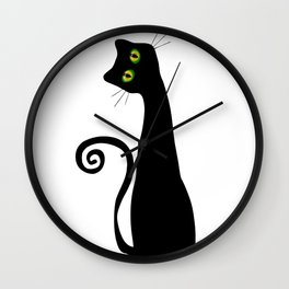 Black Cat Witches Lucky Cat Wall Clock