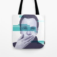 data Tote Bags featuring Data Stream by Haily Gwynn Shaw