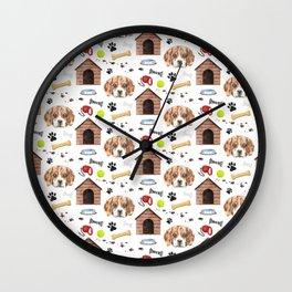 Beagle Face Half Drop Repeat Pattern Wall Clock