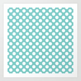 White Polka Dots with Aqua Background Art Print