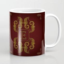 Letter E Seahorse Coffee Mug
