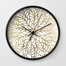 Elegant white faux gold floral trendy mandala Wall Clock