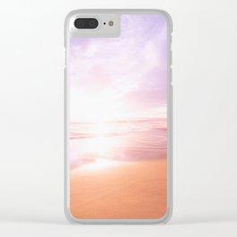 Sunset Beach Scene , Summertime, Pastel Sky Clear iPhone Case
