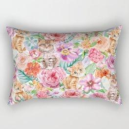 Kittens in flowers Rectangular Pillow