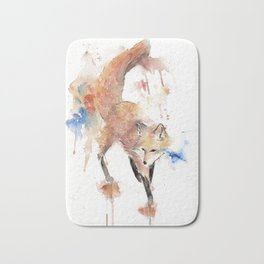 "Watercolor Painting of Picture ""Red Fox"" Bath Mat"