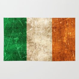 Vintage Aged and Scratched Irish Flag Rug