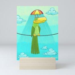 Umbrella Hat Bird Lounging on a Wire! Mini Art Print