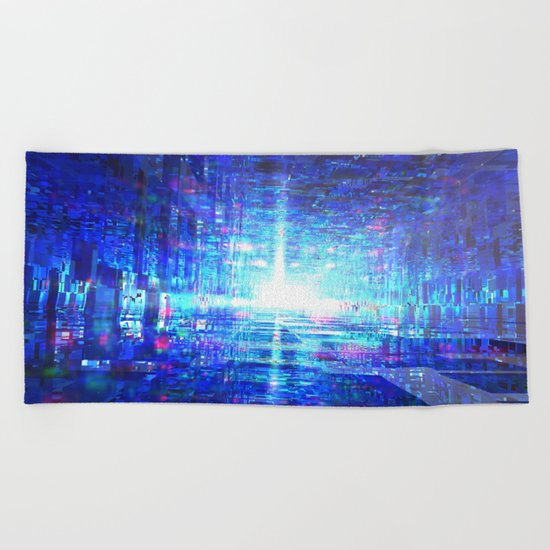 Blue Reflecting Tunnel Beach Towel