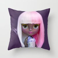 nicki Throw Pillows featuring ERREGIRO CUSTOM BLYTHE DOLL NICKI by Erregiro