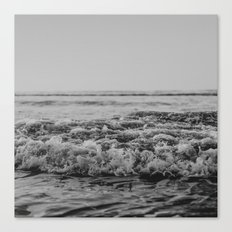 Black and White Pacific Ocean Waves Canvas Print