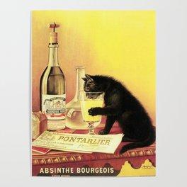 Absinthe Bourgeois Black Cat Vintage Poster