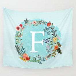 Personalized Monogram Initial Letter F Blue Watercolor Flower Wreath Artwork Wall Tapestry