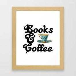 Books & Coffee Framed Art Print