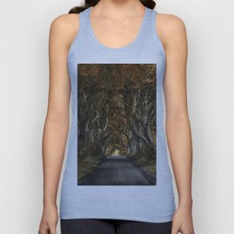 Dark Hedges alley in autumn Unisex Tank Top