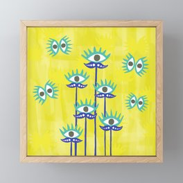 Evil Eye Nazar protective Garden Yellow Framed Mini Art Print
