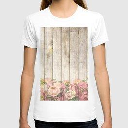 Vintage Rustic Romantic Roses Wooden Plank T-shirt