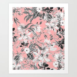 Black and White Floral on Light Pink Art Print
