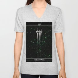 A Tarot of Ink Major Arcana XVI The Tower Unisex V-Neck