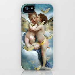 """""""Angels in love in heaven with butterflies"""" iPhone Case"""