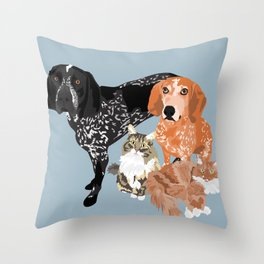 Lady, Blue, Leo and Butch Throw Pillow